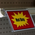 Clear Covered-Face Sign Holder, Below Shelf Mount